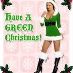 Foto de chica vestida de Papá Noel en color verde